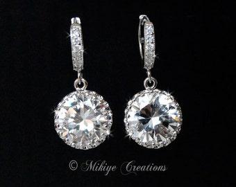 Wedding Chandelier Earrings, Wedding Accessories, Wedding Jewelry, Swarovski Crystal Cubic Zirconia Drop Earrings - E113