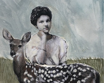 Mixed media painting on paper/ deer art/vintage woman portrait /original art/gouache painting /Heather Murray/collectable artvintage lovely