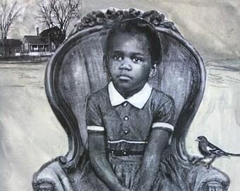 Mixed media painting on paper/ girl portrait/vintage art /original art/gouache painting /bird love/Heather Murray/black and white/unique art