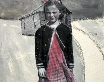 Mixed media painting on paper/ girl portrait/vintage art /original art/gouache painting /dog love/Heather Murray/black and white/unique art