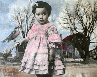 mixed media painting /acrylic on stretched canvas/bird art/vintage child/ young girl/unique art/ original art/Heather Murray / memory art