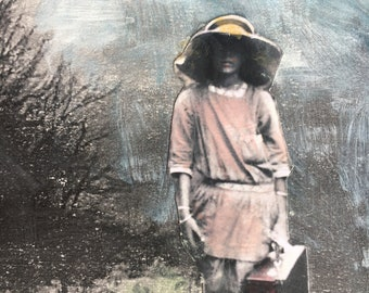 Mixed media painting on paper/ moody landscape/vintage girl /original art/gouache painting /Heather Murray/collectable artvintage lovely