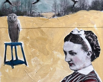 "mixed media painting/original gouache painting/ vintage girl/owl art/unique art/owl on chair/12 x12""/cradled wood / H Murray/unique art"