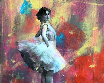 Twirl  dancer ballerina original abstract  mixed media painting