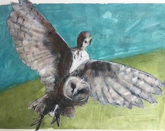 Mixed media painting on paper/ owl boy/vintage boy /original art/gouache painting /owl love/Heather Murray/collectable artvintage lovely