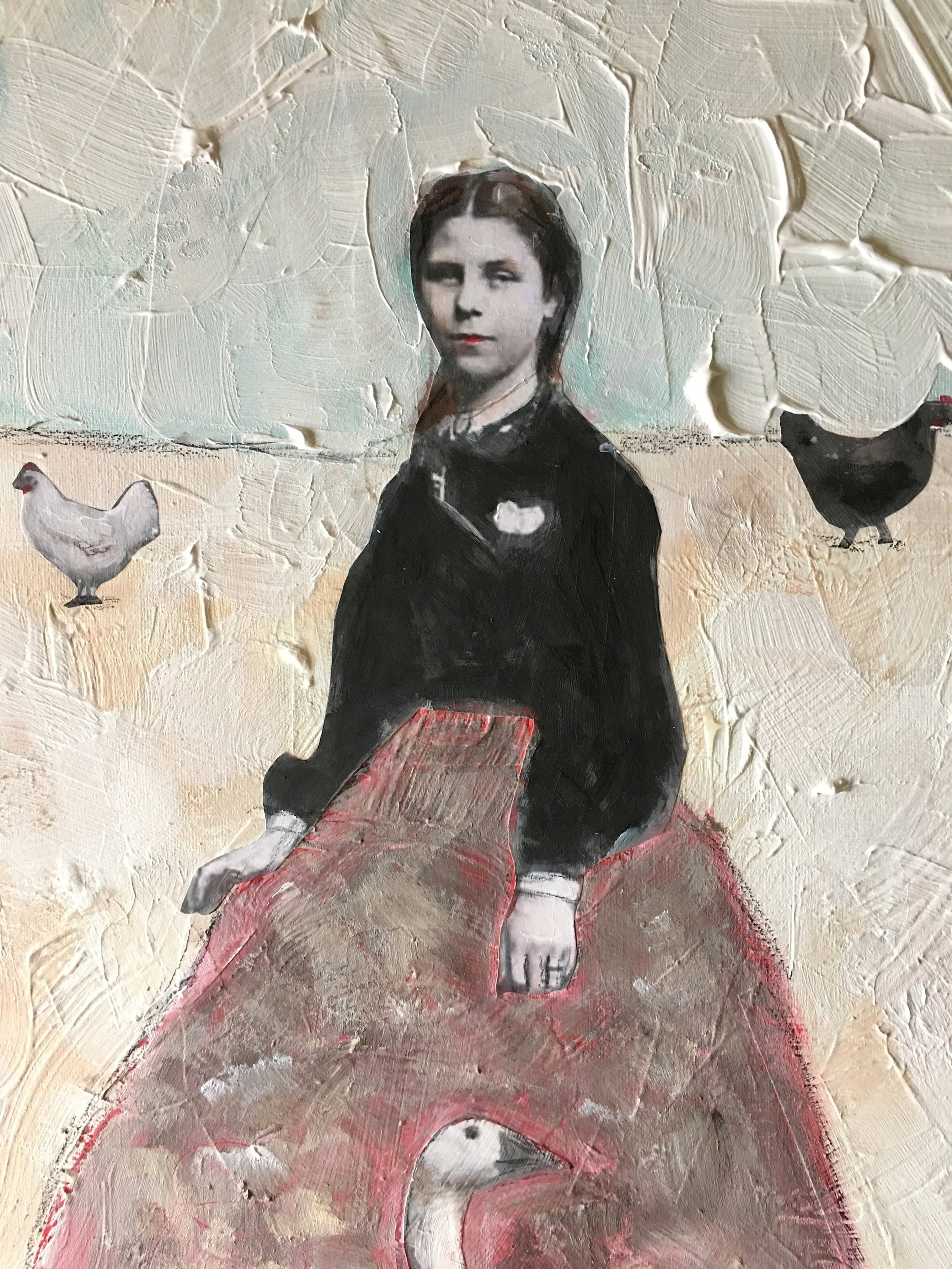 Vintage Girl With Goose And Hens Acrylic Mixed Media Extra Etsy