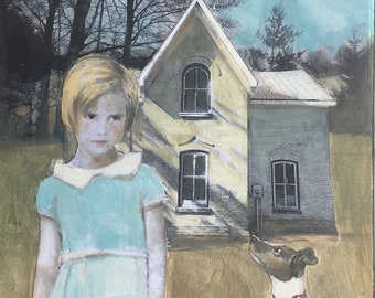 """mixed media painting/original gouache painting/11"""" x 14""""/canvas / Heather Murray/ unique wall art/vintage girl/poignant"""