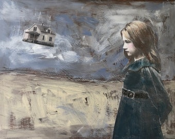 """mixed media painting/original acrylic painting/12 x 16""""/cradled wood / H Murray/ vintage girl/flying house/unique art/stormy art/poignant"""