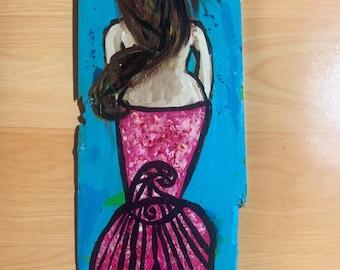 RhondaK Handpainted brunette Mermaid on Driftwood like Wood sea shabby chic in blues and pink