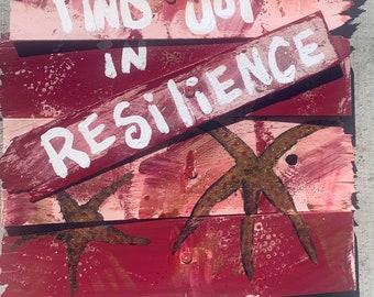 "RhondaK Beach Rococo Series  Shabby Chic driftwood like wood  with 18""x16"" Gold Metallic Starfish Find Joy in Resilience"