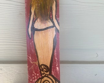 "RhondaK Handpainted small 5""x14"" Beach blond blonde pink maroon and gold mermaid driftwood with metallic gold tail"