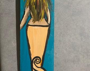 RhondaK Handpainted blond Mermaid on Driftwood like Wood in Aqua blue with peach tail