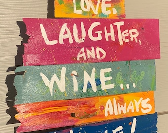 """RhondaK pool or beach sign with friends welcome with wine saying Shabby Chic driftwood like Wood 16"""" x 24"""""""