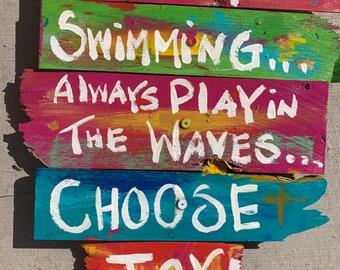 "RhondaK pool or beach sign with three sayings on Shabby Chic driftwood like wood 18""x16"" Tropical colorful Keep swimming choose joy"