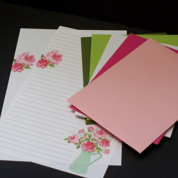 Pink Tulips fine writing set stationery set hand written letters 30 pieces letter writing set