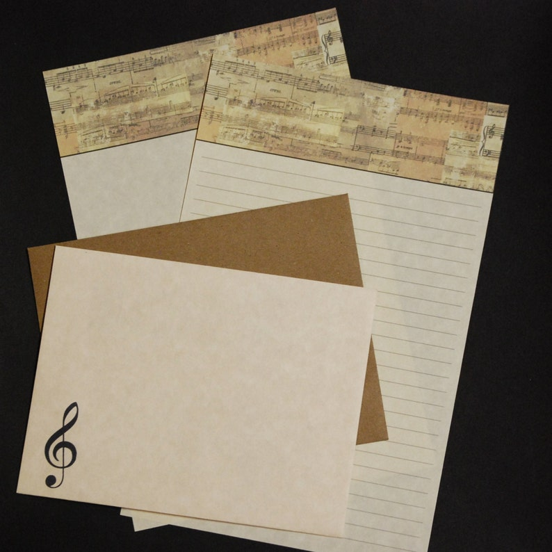 8.5 x 5.5 inches fine stationery set letter writing set snail mail 30 pieces lined or unlined hand written letters Musical Score