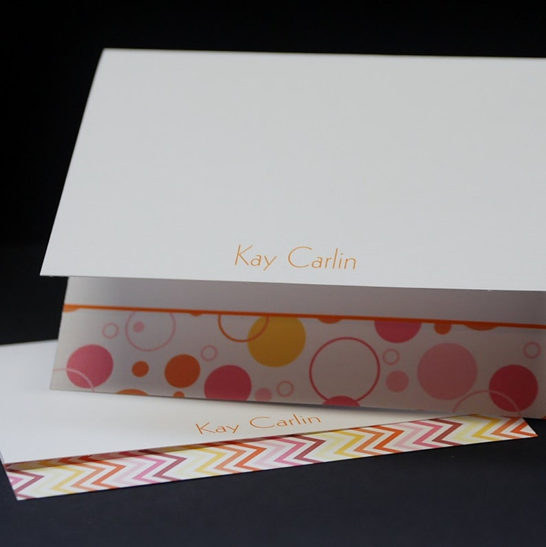 Dots And Pinking set of 6 personalized or customized coordinating greeting cards