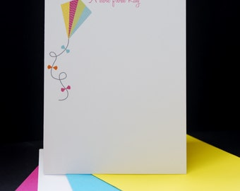Colorful Kite, personalized flat cards, set of 8