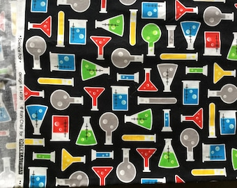 Robert Kaufman science chemistry themed quilting fabric: 1.85m