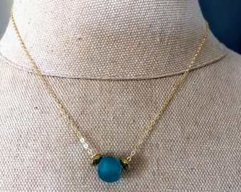 Short dainty recycled glass blue gold  filled minimalist necklace gift