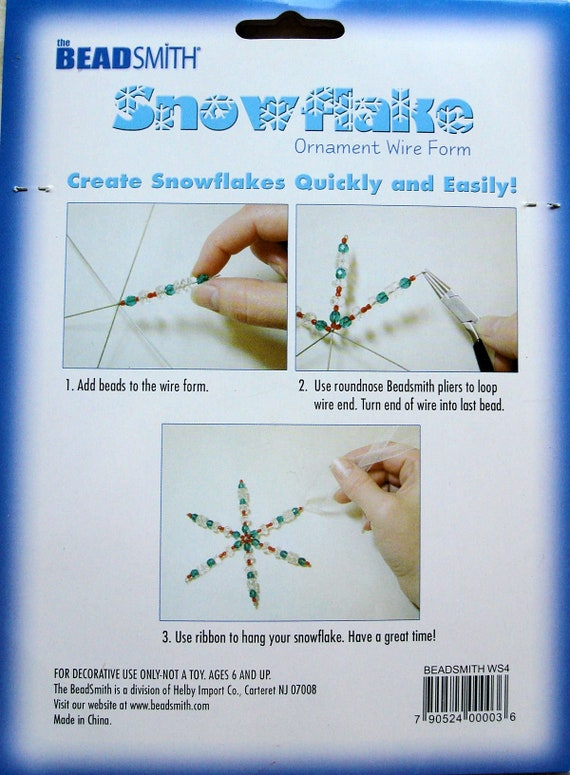 3 Packs of BEADSMITH SNOWFLAKE WIRE Forms in 3 Sizes 21