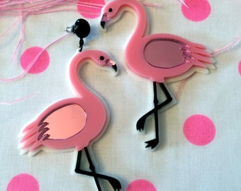 Pink Flamingo Earrings, Laser Cut Acrylic, Plastic Jewelry