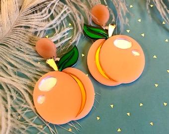 Peach Earrings, Fruit Summer Laser Cut Acrylic, Plastic Jewelry