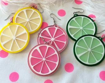 Fruit Slice Acrylic Laser Cut Earrings