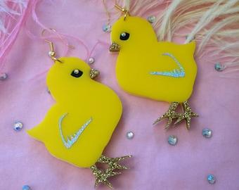 Easter Chick Earrings, Laser Cut Acrylic, Plastic Jewelry