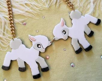 Lambs Animal Necklace, Laser Cut Acrylic, Plastic Jewelry