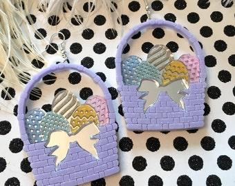 Easter Egg Basket Earrings, Laser Cut Acrylic, Plastic Jewelry