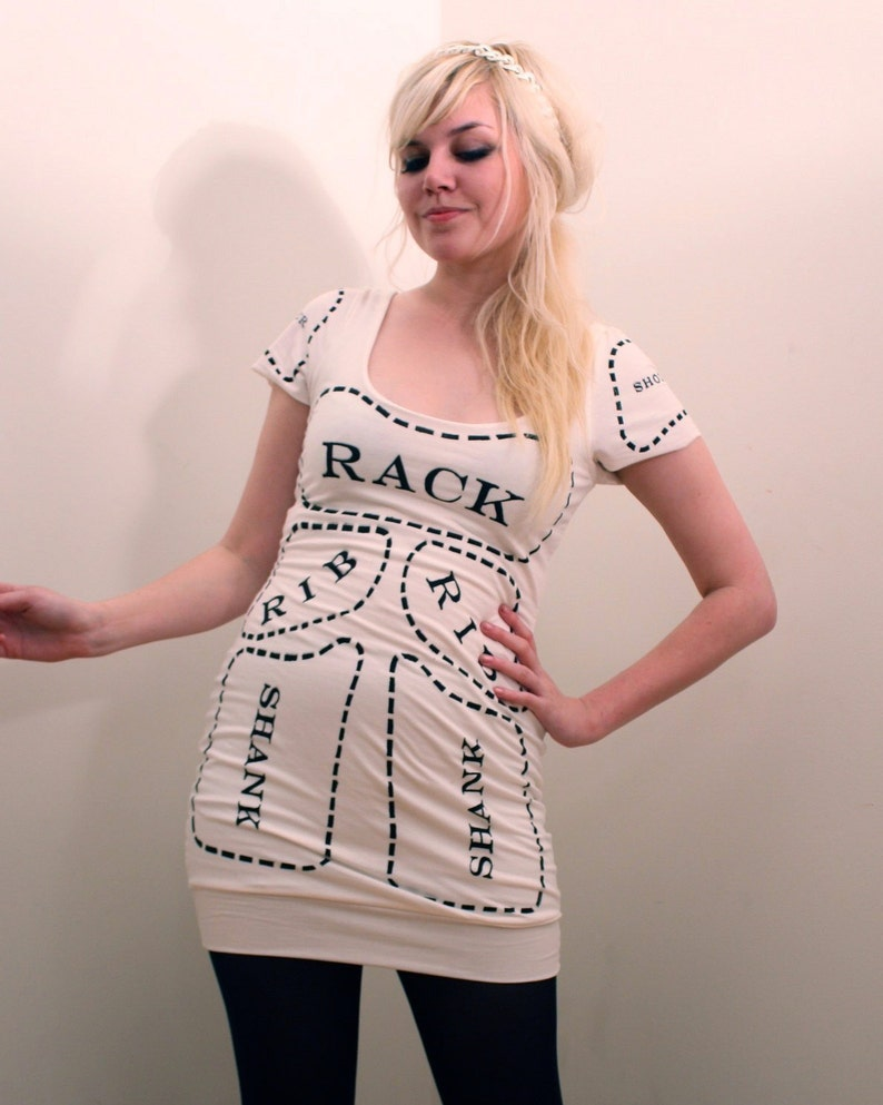 9560b9a724a Creme Cuts of Meat Screen Printed Butcher Dress MADE TO ORDER