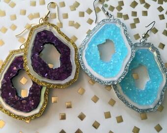 Geode in Glitter Purple or Blue Earrings, Laser Cut Acrylic, Plastic Jewelry