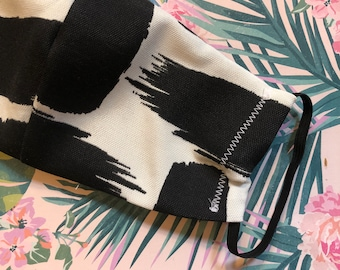 Black and white Paint strokes print Fabric Face Mask, Cotton, Reusable/Washable, Filter Pocket, Adjustable Wire