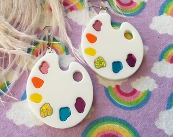 Artist Paint Palette Rainbow Earrings, Laser Cut Acrylic, Plastic Jewelry