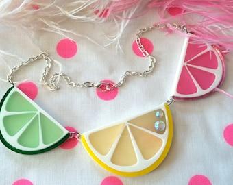 Fruit Slice Necklace, Laser Cut Acrylic, Plastic Jewelry