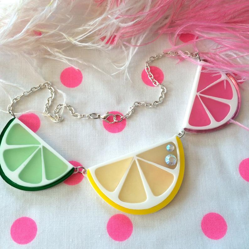 Fruit Slice Necklace Laser Cut Acrylic Plastic Jewelry image 0