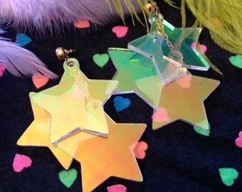 Radiant Stars Holographic Earrings, Laser Cut Acrylic, Plastic Jewelry