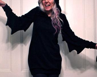 Black Knit Bat Dress MADE TO ORDER