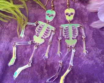 Radiant acrylic Skeleton Earrings, Laser Cut Acrylic, Plastic Jewelry