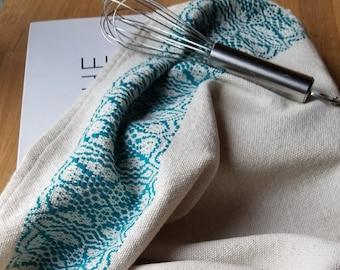 Kitchen Towel Handmade Sustainable Organic Cotton Linen Teal