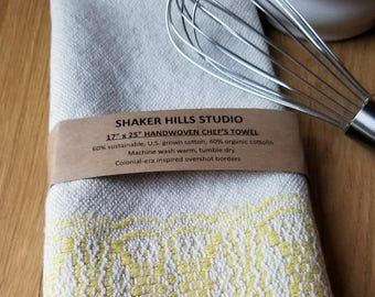Tea Kitchen Towel Handmade Sustainable Organic Cotton Linen Yellow