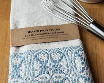 Foodie Kitchen Towel Handmade Sustainable Organic Cotton Linen Colonial Blue