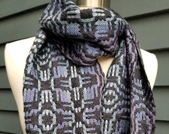 Alpaca Silk Tencel Handwoven Scarf Black Blue, Purple, Teal