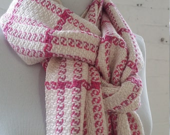 Alpaca Cashmere Silk Handwoven Hand-dyed Scarf Cream Pink Plaid