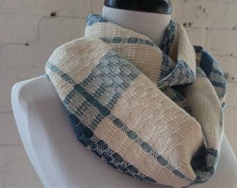 Ecofriendly Lightweight Scarf Cotton Tencel in Teal Cream Light Blue Handwoven Sustainable