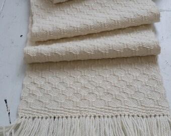 Winter White Cashmere Alpaca Silk Handwoven Scarf