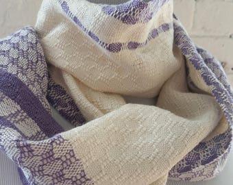 Lightweight Scarf  Lilac Cream Purple Handwoven Sustainable Cotton Tencel