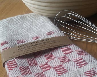 Red Chef's Towel Handwoven Sustainable Cotton Organic Cottolin