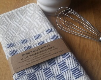Chef's Towel Handwoven Navy Blue Sustainable Cotton Organic Cottolin